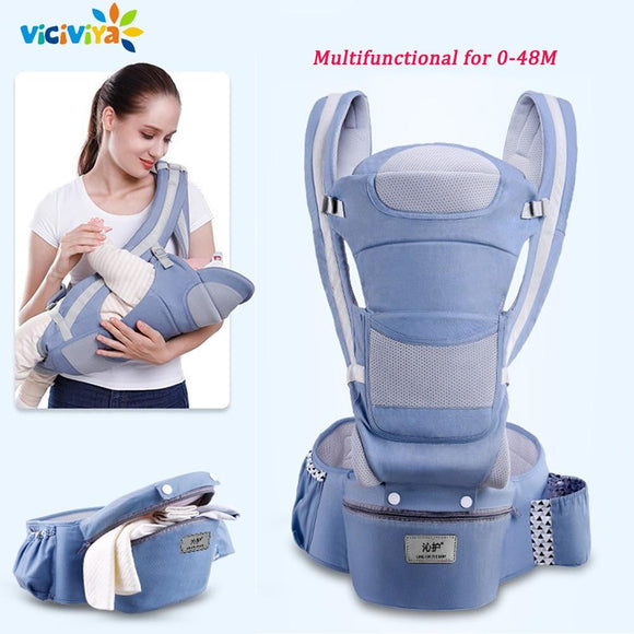 0-48M Ergonomic Baby Carrier Infant Baby Hipseat Carrier Front Facing Ergonomic Kangaroo Baby Wrap Sling for Baby Travel - YouCanGetGifts Store
