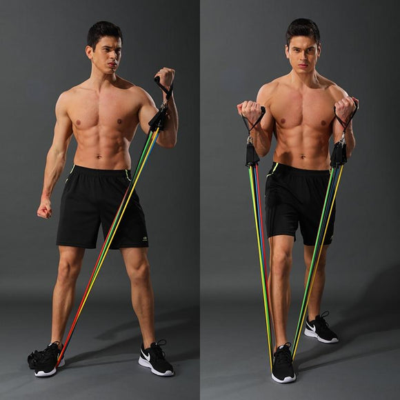 11 Pcs/Set Latex Resistance Bands Crossfit Training Body Exercise Yoga Tubes Pull Rope Chest Expander Pilates Fitness with Bag - YouCanGetGifts Store
