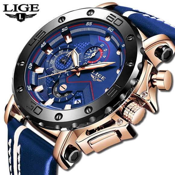 2020 LIGE Mens Watches Top Brand Luxury Fashion Military Quartz Watch Men Leather Waterproof Sport Chronograph Relogio Masculino - YouCanGetGifts Store