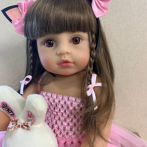 55CM real size Original NPK bebe doll reborn toddler girl pink princess bath toy very soft full body silicone girl doll surprice - YouCanGetGifts Store