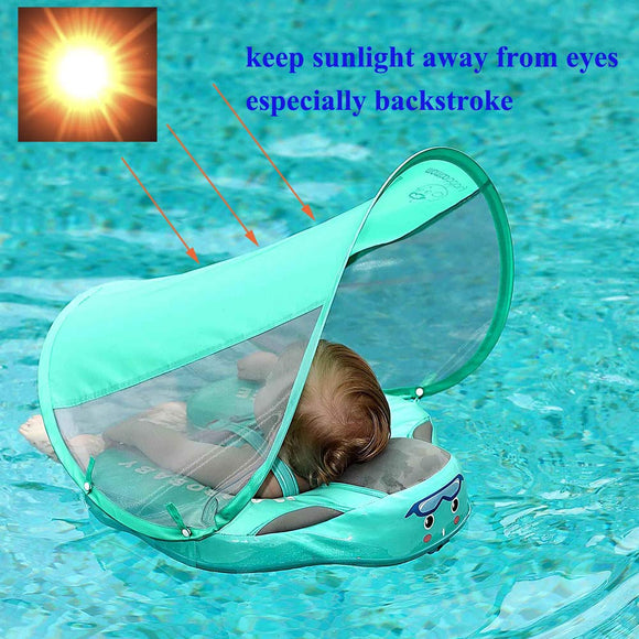 UPF 50 Mambo baby swim float swimming ring UV-protection baby floating with canopy no need Inflatable neck Floats Swim Trainer - YouCanGetGifts Store