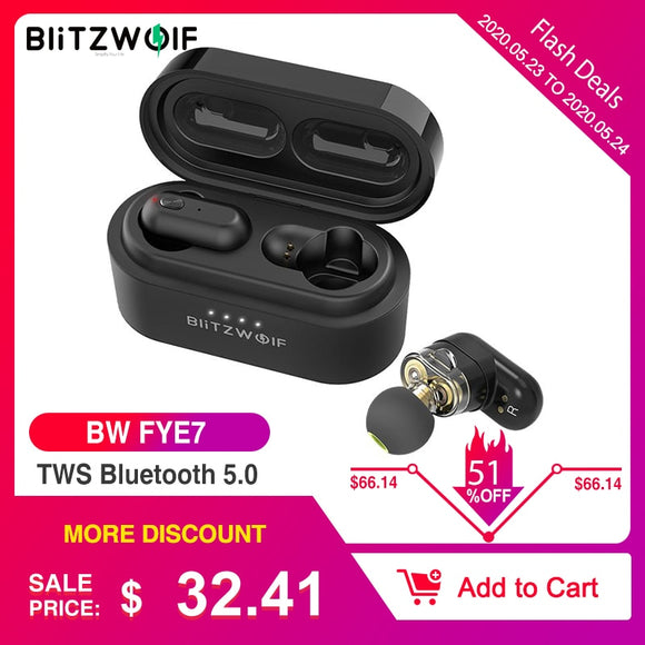 [Dual Dynamic Driver] Blitzwolf BW FYE7 TWS Bluetooth 5.0 In-ear Wireless Earphone Bass Stereo Bilateral Call Earbuds Hifi Music - YouCanGetGifts Store