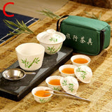 ANCHENG Set Chinese Travel Kung Fu Tea Set Ceramic Portable Teacup Porcelain Service Gaiwan Tea Cups Mug of Tea Ceremony Teapot - YouCanGetGifts Store