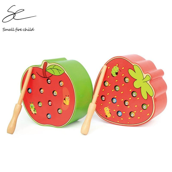 Baby Wooden Toys 3D Puzzle Early Childhood Educational Toys Catch Worm Game Color Cognitive Magnetic Strawberry Apple - YouCanGetGifts Store