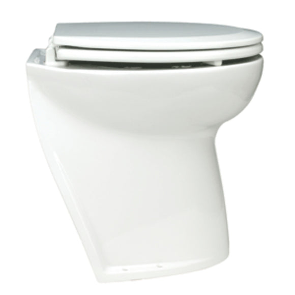 Jabsco Deluxe Flush Electric Toilet - Raw Water - Angled Back