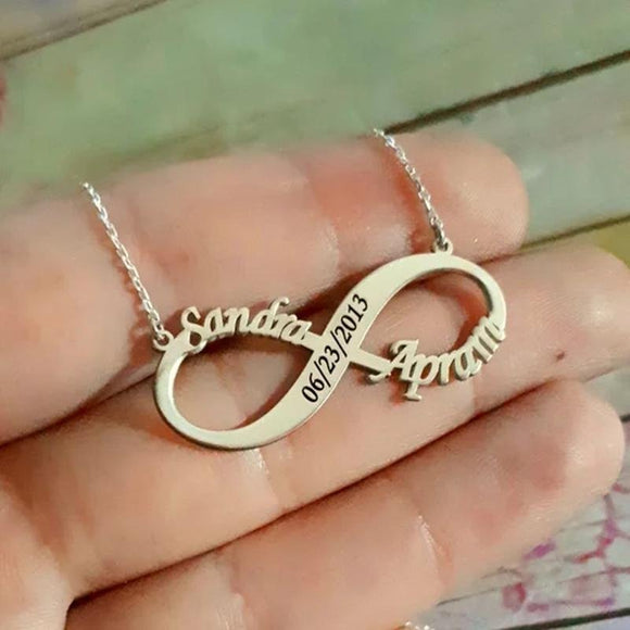 Double Names Handmade Infinity Name Necklace with Date Numbers Engraved Stainless Steel Lover Necklace Best Gift to Girlfriend - YouCanGetGifts Store