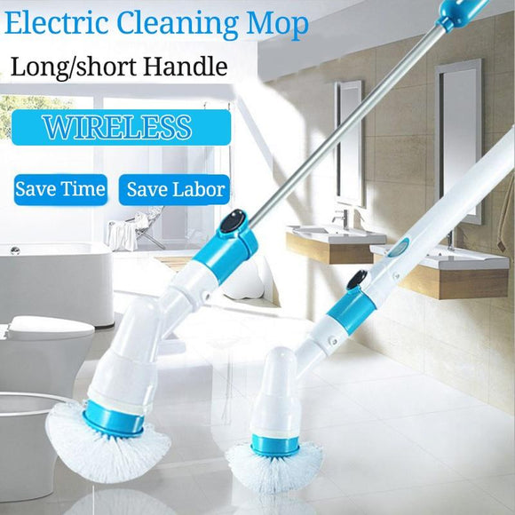 Electric Spin Scrubber Turbo Scrub Cleaning Brush Cordless Chargeable Bathroom Cleaner with Extension Handle Adaptive Brush Tub - YouCanGetGifts Store