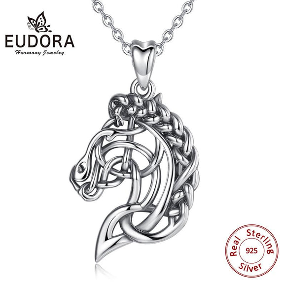 Eudora 925 Sterling Silver Horse Necklace Pendant Celtics Knot Spirit Horse Head Necklace Equestrian Jewelry Animal Series D424 - YouCanGetGifts Store