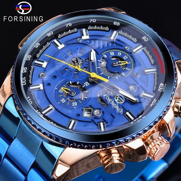 Forsining Rose Golden Case BlueSteel 3 Dial Multifunction Mens Business Sport Automatic Mechanical Wrist Watch Top Brand Luxury - YouCanGetGifts Store