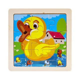 Intelligence Kids Toy Wooden 3D Puzzle Jigsaw Tangram for Children Baby Cartoon Animal/Traffic Puzzles Educational Learning Toys - YouCanGetGifts Store