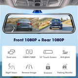 Jansite 10 inches Touch Screen 1080P Car DVR stream media Dash camera Dual Lens Video Recorder Rearview mirror 1080p Rear camera - YouCanGetGifts Store