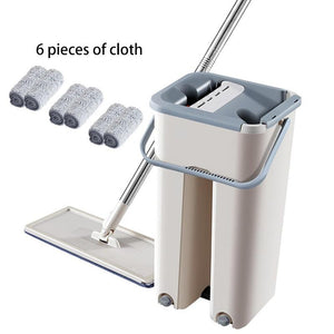 Magic Cleaning Mops With Bucket Drop Shipping Floors Squeeze Flat Water Home Kitchen Floor Cleaner - YouCanGetGifts Store