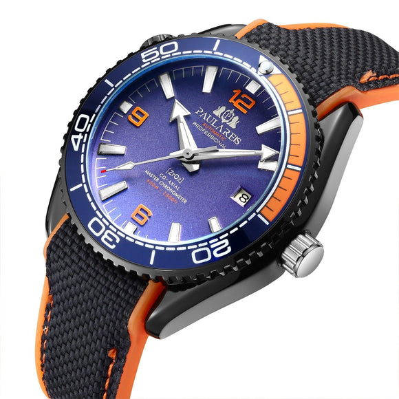 Men Automatic Self Wind Mechanical Canvas Rubber Strap James Bond 007 Style Orange Blue Red Rotatable Bezel Classic Watch - YouCanGetGifts Store