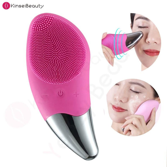 Mini Electric Facial Cleansing Brush Silicone Sonic Face Cleaner Deep Pore Cleaning Skin Massager Face Cleansing Brush Device - YouCanGetGifts Store
