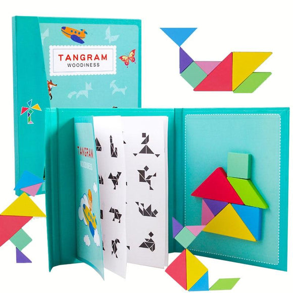 New Kids Magnetic 3D Puzzle Jigsaw Tangram Thinking Training Game Baby Montessori Learning Educational Wooden Toys for Children - YouCanGetGifts Store