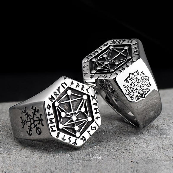 Nordic mythology Viking rune stainless steel  rings  for man and women  Kabala totem Index Ring fashion jewelry mygrillz - YouCanGetGifts Store