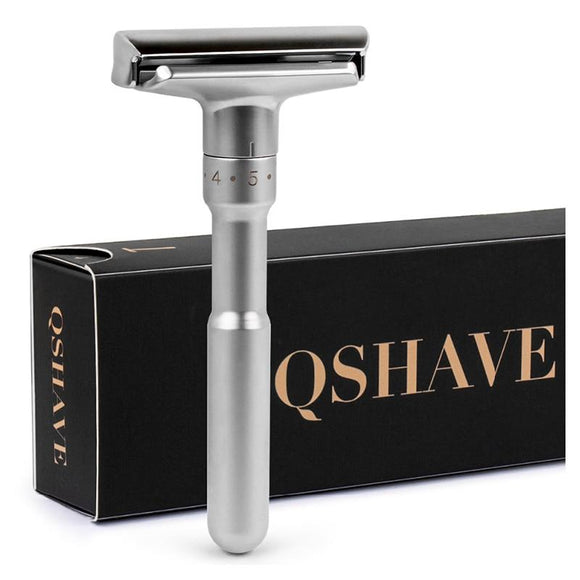 QSHAVE Adjustable Safety Razor Double Edge Classic Mens Shaving Mild to Aggressive 1-6 File Hair Removal Shaver it with 5 Blades - YouCanGetGifts Store