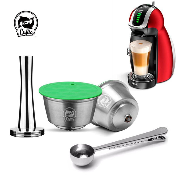 STAINLESS STEEL Metal Reusable Dolce Gusto Capsule Compatible with Nescafe Coffee Machine Refillable Dolci Filter Dripper Tamper - YouCanGetGifts Store