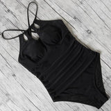 swimsuit women one pieces swimwear female sexy hollow monokini black halter bathing suit pad swimming suit solid bodysuit 2020 - YouCanGetGifts Store