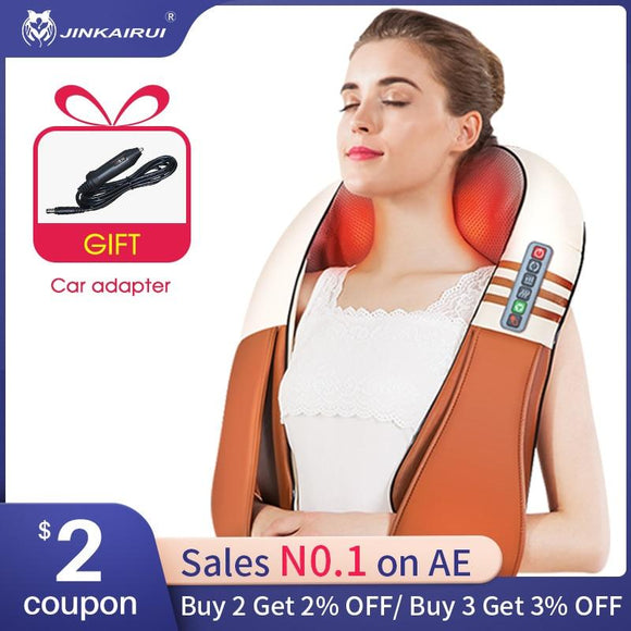(with Gift Box)JinKaiRui U Shape Electrical Shiatsu Back Neck Shoulder Body Massager Infrared Heated Kneading Car/Home Massagem - YouCanGetGifts Store