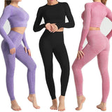 Women Seamless yoga set Fitness Sports Suits GYM Cloth Yoga Long Sleeve Shirts High Waist Running Leggings Workout Pants Shirts - YouCanGetGifts Store