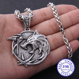 Yage Stainless Steel the Wizard wolf head pendant necklace for Geralt with a The Wild Hunt 3 Figure TV - YouCanGetGifts Store