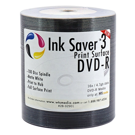 Inksaver DVD-Rs by WTSmedia 16x White Inkjet DVD-Rs