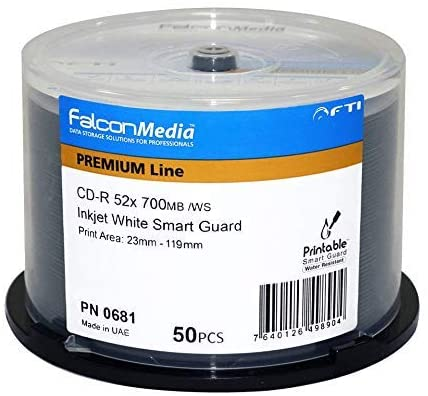 Falcon Media Premium 52x Smart Guard Glossy White Inkjet CD-R