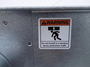 6 Inch Window Vent Warning Label