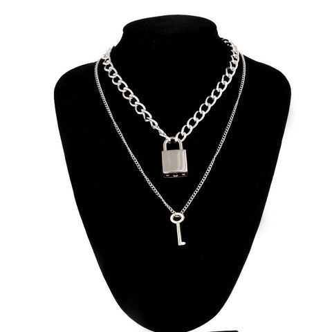 Double layer Lock+Key necklace