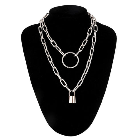 layered O Lock Chain necklace