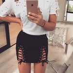 Suede laced skirt