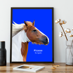 Premium Pet Portrait - Black Frame 12 X 8 (30X20Cm) / Blue One Wall Art