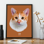 Premium Pet Portrait - Black Frame 12 X 8 (30X20Cm) / Cinnamon One Wall Art