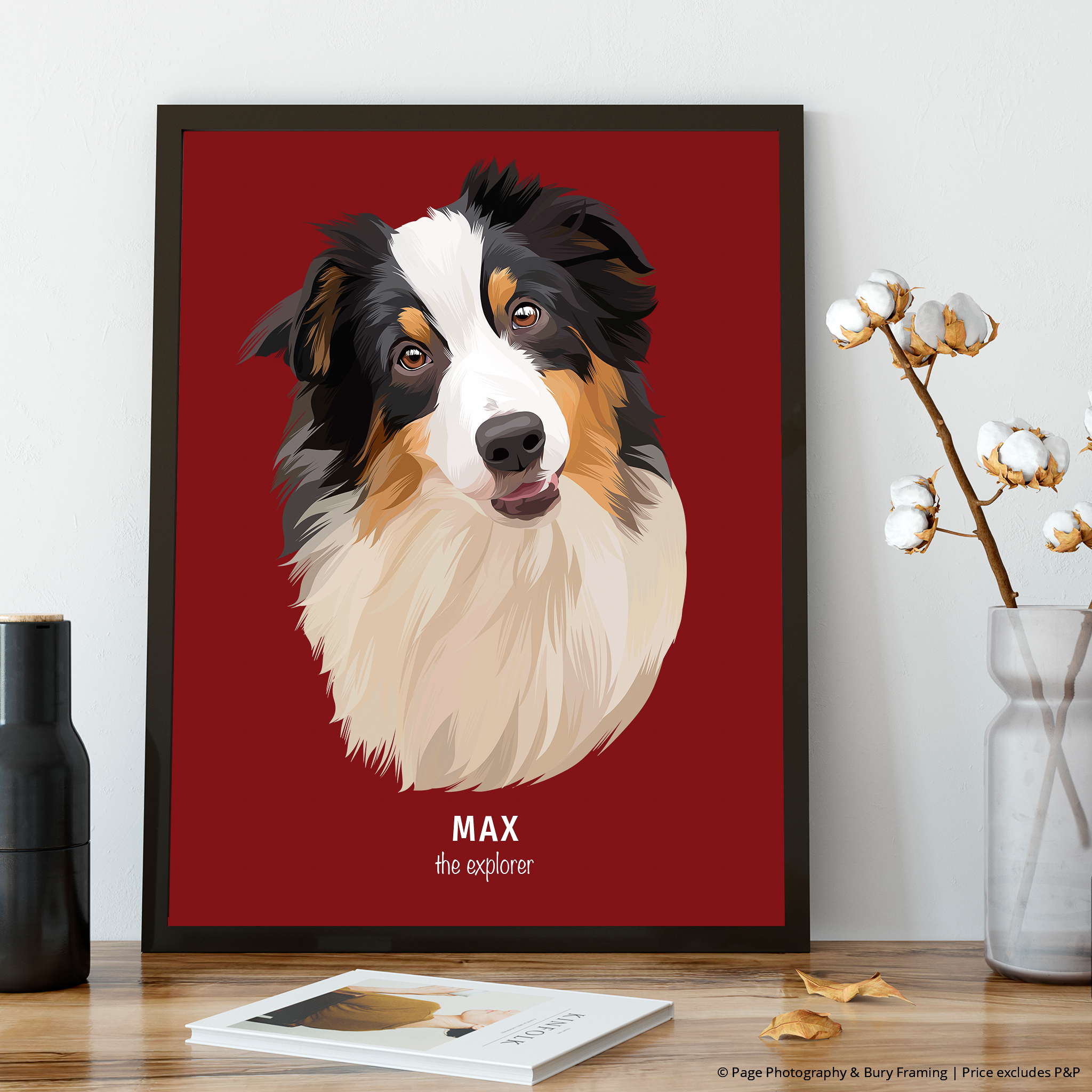 Premium Pet Portrait - Black Frame 12 X 8 (30X20Cm) / Crimson One Wall Art