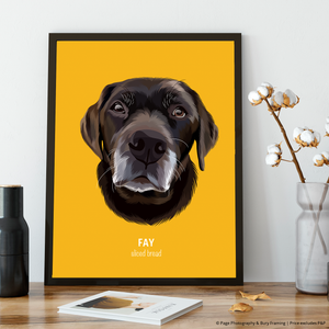 Premium Pet Portrait - Black Frame 12 X 8 (30X20Cm) / Mustard One Wall Art