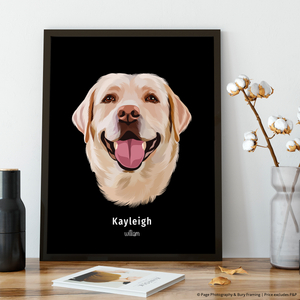 Premium Pet Portrait - Black Frame 12 X 8 (30X20Cm) / One Wall Art