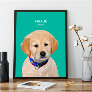 Premium Pet Portrait - Black Frame 12 X 8 (30X20Cm) / Teal One Wall Art