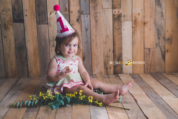 Bush Gum Blossoms romper & party hat
