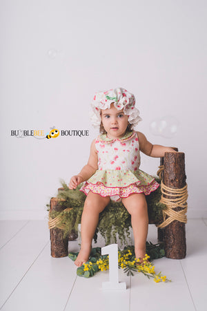 Bush Gum Blossoms Romper & Frilly Mob Cap