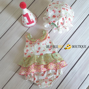 Bush Gum Blossoms Romper, Party hat & frilly mob cap