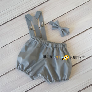 Grey Cake Smash Outfit for Baby Shark theme
