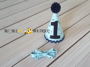 Confetti Blue Boy's Cake Smash Party Hat with navy trim