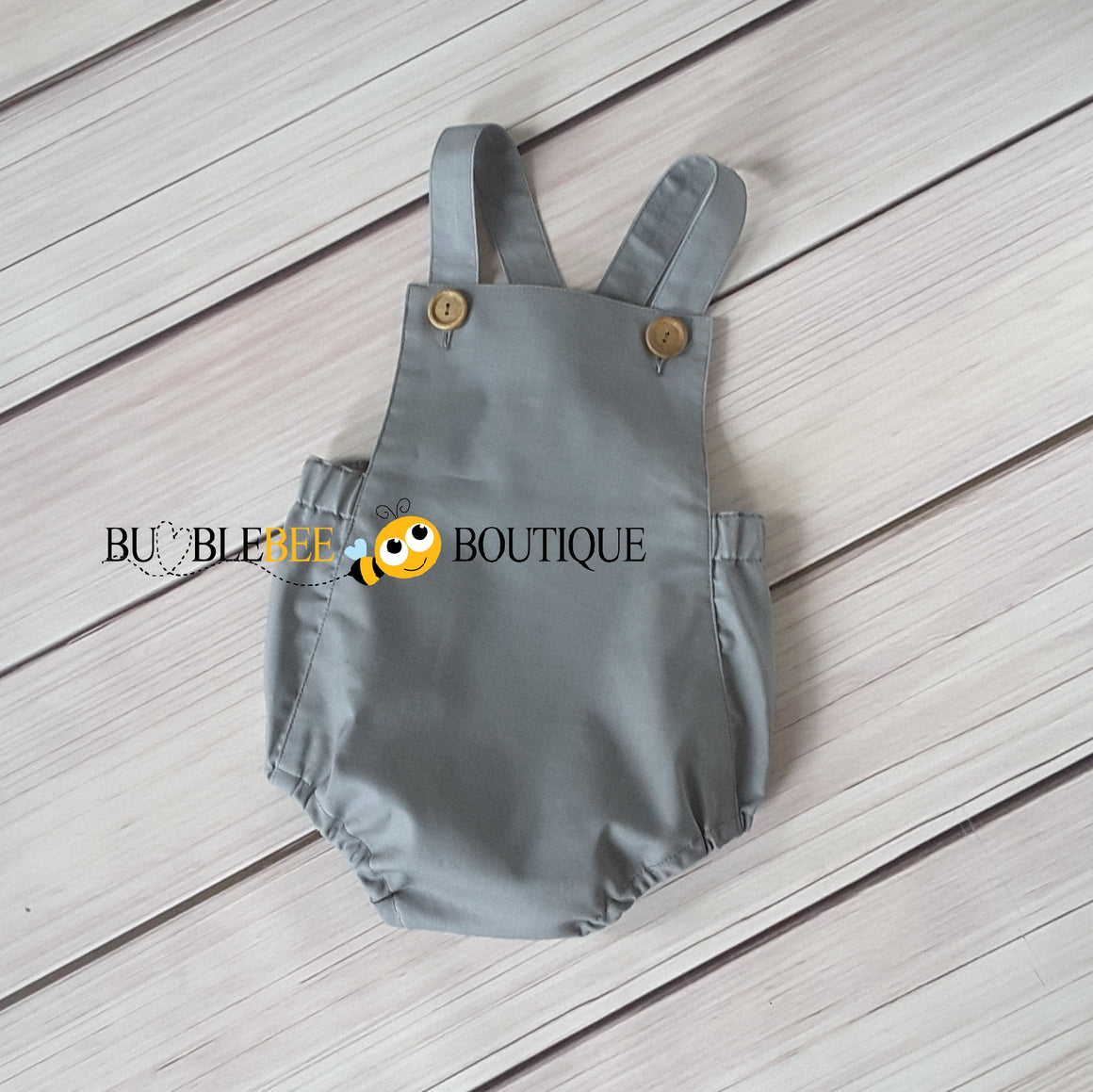 Grey Vintage Style Boys Romper front view