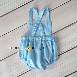 Baby Blue Vintage Style Boys Romper back view