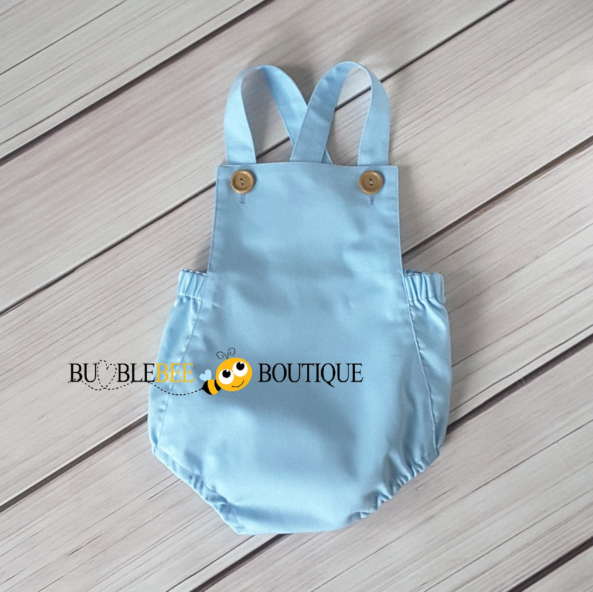 Baby Blue Vintage Style Boys Romper front view
