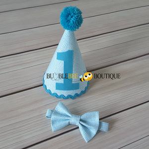 Turquoise Colour Weave Boys Cake Smash Party Hat and Bow Tie