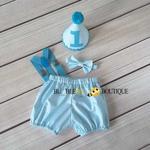 Turquoise Colour Weave Boys Cake Smash Outfit by Bumblebee Boutique