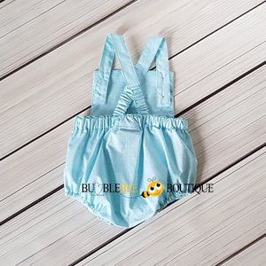 Turquoise Colour Weave Romper Back View