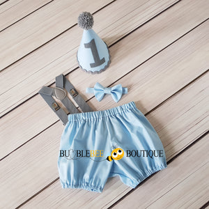 Baby Blue and Grey Cake Smash Outfit by Bumblebee Boutique